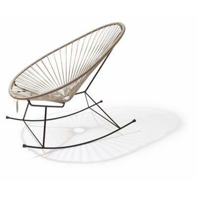 Acapulco rocking chair beige, black frame
