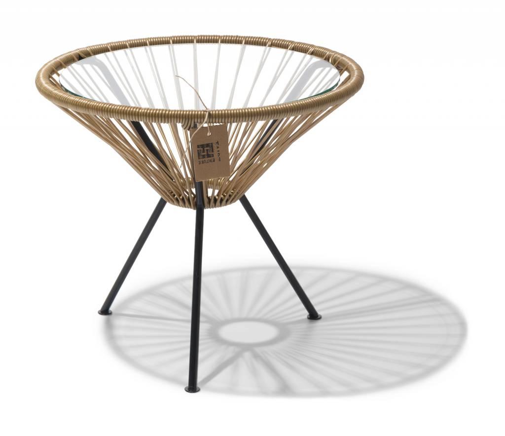 table jap n couleur or avec plateau en verre le fauteuil acapulco authentique. Black Bedroom Furniture Sets. Home Design Ideas