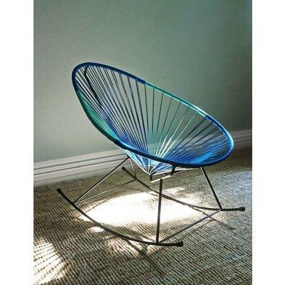 Handgemaakte Acapulco schommelstoel petroleum blauw & licht turquoise