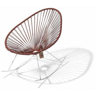 Chaise à bascule Acapulco édition en cuir, cadre blanc