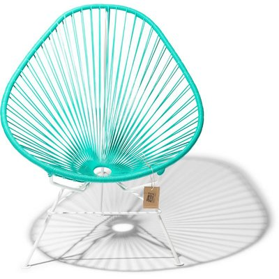Fauteuil Acapulco turquoise, cadre blanc