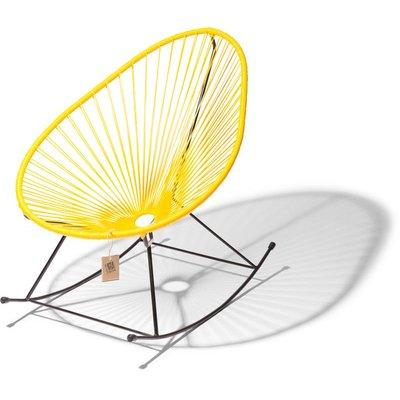 Handgemaakte Acapulco schommelstoel geel met zwart frame