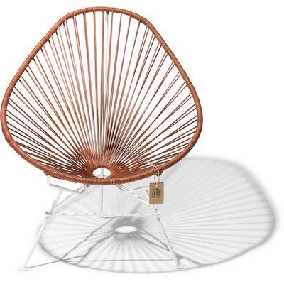Acapulco Leder Stuhl, mit weißem Rahmen