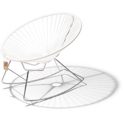 Condesa rocking chair white, chrome frame