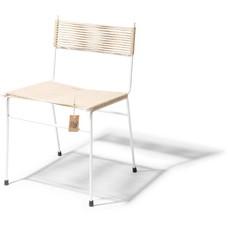 Chaise de salle à manger Polanco en chanvre, cadre blanc