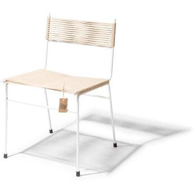 Silla de comedor Polanco cáñamo, estructura en color blanco