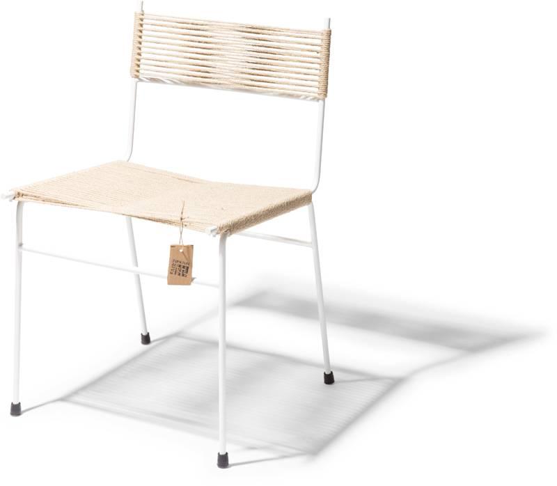 Sedia da pranzo polanco canapa struttura bianca sedie for Sedia acapulco