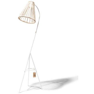 Kahlo Stehlampe Hanf, mit weißem Rahmen