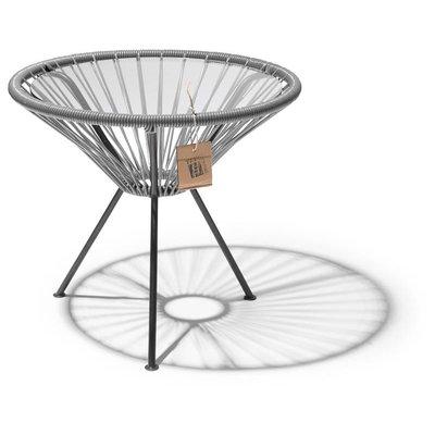 Tisch Japón silbergrau mit Glastischplatte