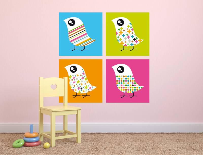 Vier fancy vogels in gekleurde vlakken decodog - Decoreer zijn professionele kantoor ...
