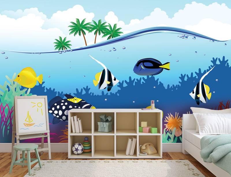 Blub, blub… vissen zelfklevend fotobehang - DecoDog