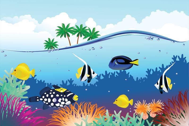 Behang Kinderkamer Vissen : Blub vissen zelfklevend fotobehang decodog