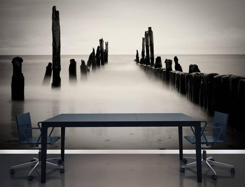 Houten Wandpanelen Slaapkamer : Prachtig fotobehang van het strand ...