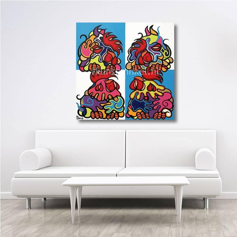 Schilderij acryl kippen kleur nicolette arens 100x100 cm - Kleur schilderij slaapkamer volwassenen ...