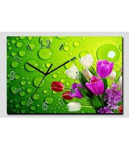 Canvas Wandklok Tulpen