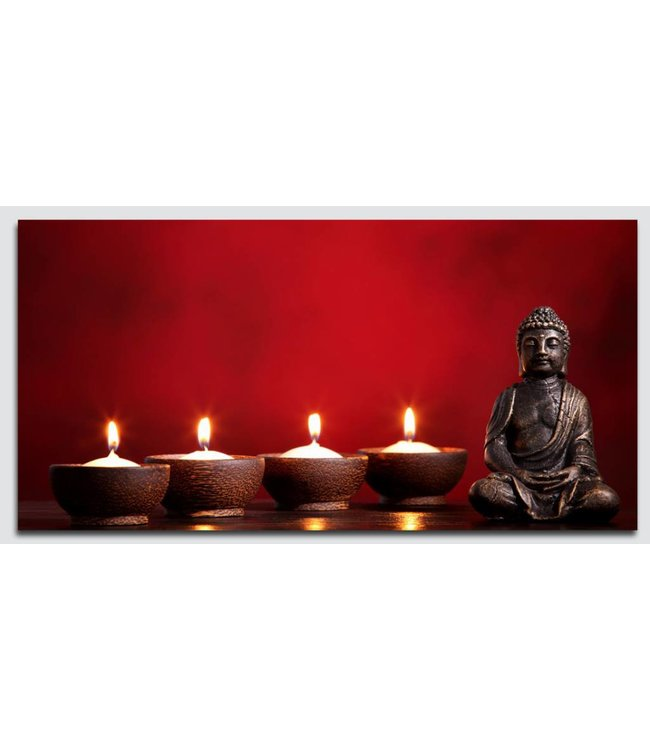Canvas Schilderij Boeddha rood met Led verlichting