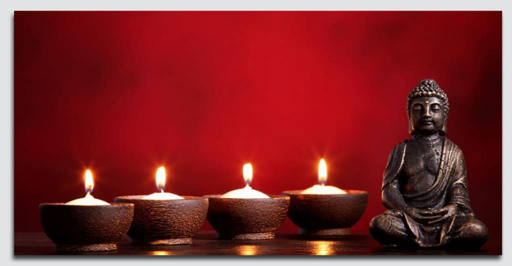 Schilderij boeddha rood met led verlichting - Trendy kamer schilderij ...