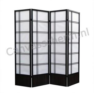 Kamerscherm Japans 4 panelen Zwart