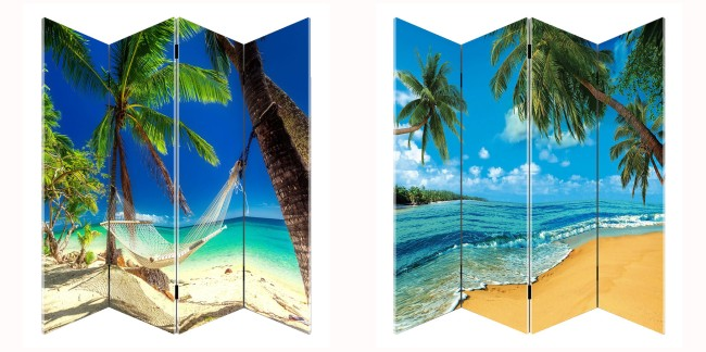 Kamerscherm Paravent Strand Palmboom