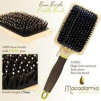 Macadamia Natural Oil 100% Boar Paddle Cushion Brush