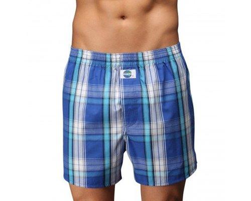 D.E.A.L. wijde boxershorts Blauw wit geruit met turquoise