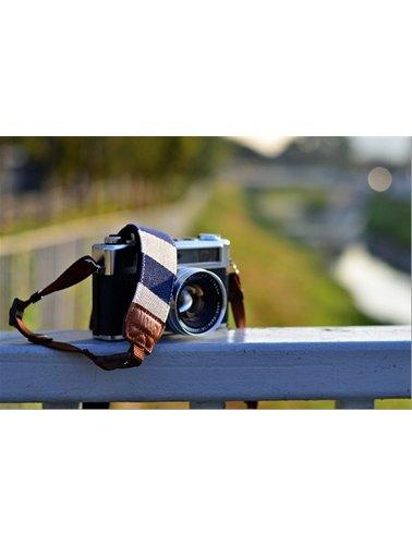 Blauw met witte strepen camerariem