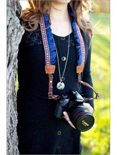 Funky blue fringes camera strap
