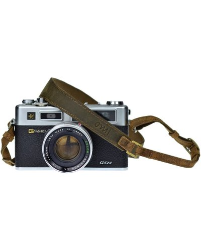 Olive Brown Leather Camera Strap