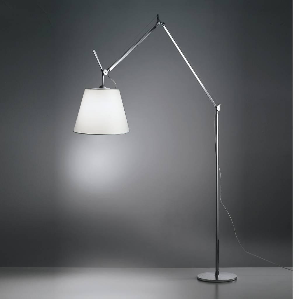 tolomeo mega vloerlamp alu perkament zwarte kap lucente. Black Bedroom Furniture Sets. Home Design Ideas