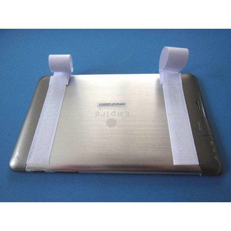 Haakband met plakstrip (harde kant), 100 mm. breed, wit, binnengebruik
