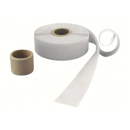 Haakband met plakstrip (harde kant), 25 mm. breed, wit, binnengebruik