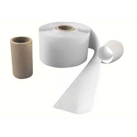 Haakband met plakstrip (harde kant), 50 mm. breed, wit, buitengebruik