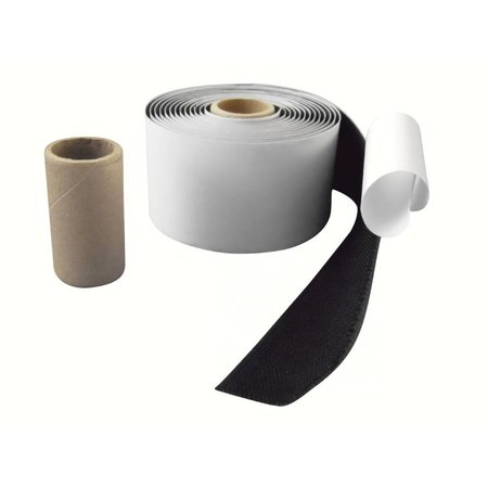 Haakband met plakstrip (harde kant), 50 mm. breed, zwart, binnengebruik