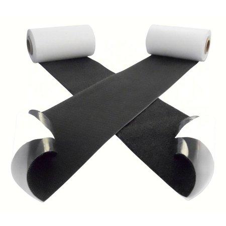 Klittenband met plakstrip, harde + zachte kant, 100 mm. extra breed, zwart, binnengebruik