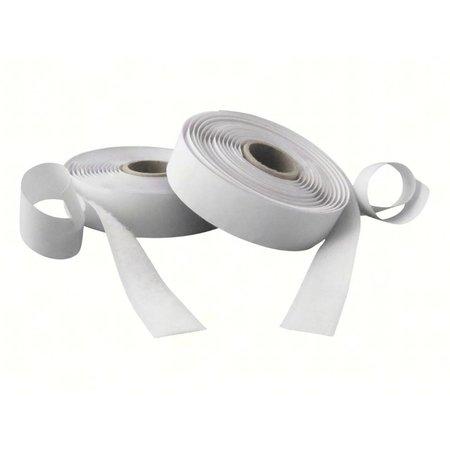 Klittenband met plakstrip (harde + zachte kant), 20 mm. breed, wit, buitengebruik