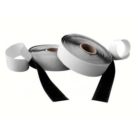 Klittenband met plakstrip (harde + zachte kant), 20 mm. breed, zwart, buitengebruik