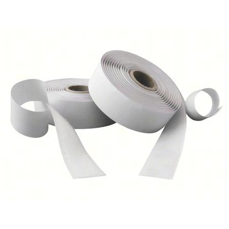 Klittenband met plakstrip (harde + zachte kant), 25 mm. breed, wit, binnengebruik
