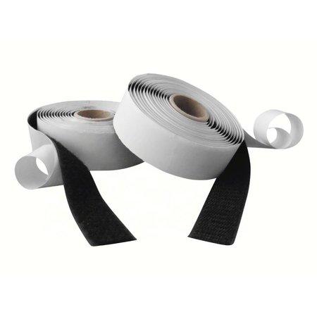 Klittenband met plakstrip (harde + zachte kant), 25 mm. breed, zwart, binnengebruik