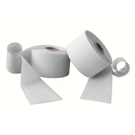 Klittenband met plakstrip (harde + zachte kant), 50 mm. breed, wit, binnengebruik