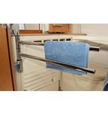 Elektrische Handdoekdroger Chroom / PAX Flex 1 ( 20 W ) 2 stangs ( recht ) draaibaar - Zonder verzendkosten