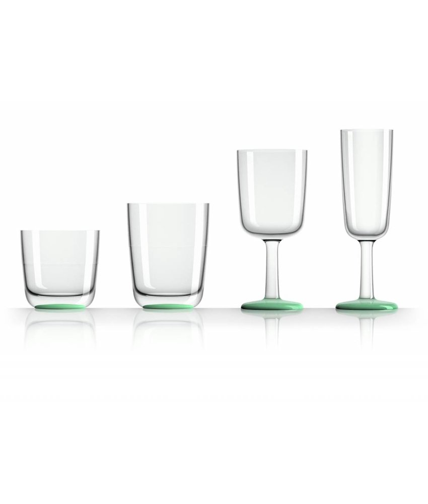 Laag Onbreekbaar Glas ( wijnglas zonder pootje ) Marc Newson - Glow in the Dark voet antislip - TRITAN