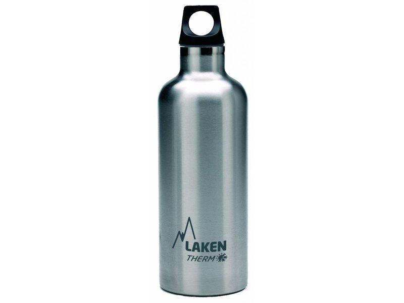 Water Fles ( dubbelwandig ) 0.50 ltr. TE5 kleur: RVS BLACK - RVS - Futura - Merk: LAKEN Since 1912
