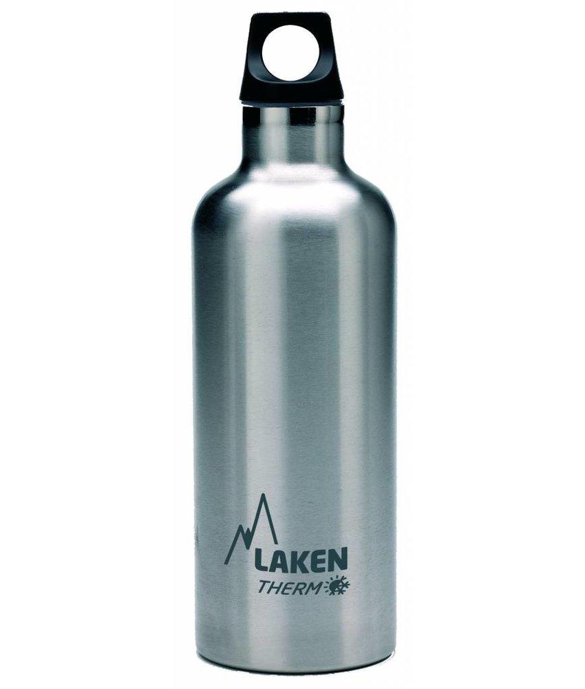 Water Fles ( dubbelwandig ) 0.50 ltr. TE5 kleur: RVS BLANK - RVS - Futura - Merk: LAKEN Since 1912