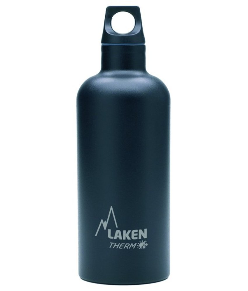 Water Fles ( dubbelwandig ) 0.50 ltr. TE5N kleur: ZWART - RVS - Futura - Merk: LAKEN Since 1912