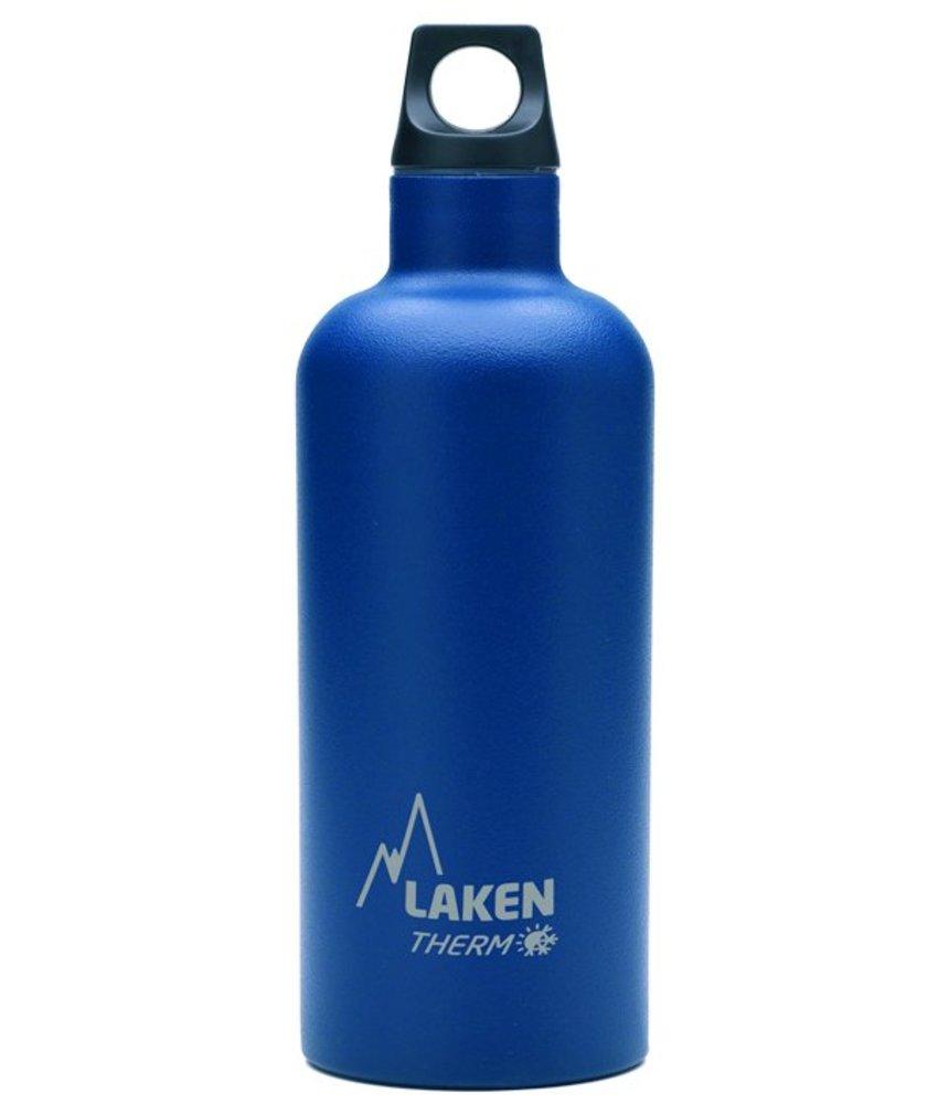 Water Fles ( dubbelwandig ) 0.50 ltr. TE5A kleur: DONKERBLAUW - RVS - Futura - Merk: LAKEN Since 1912