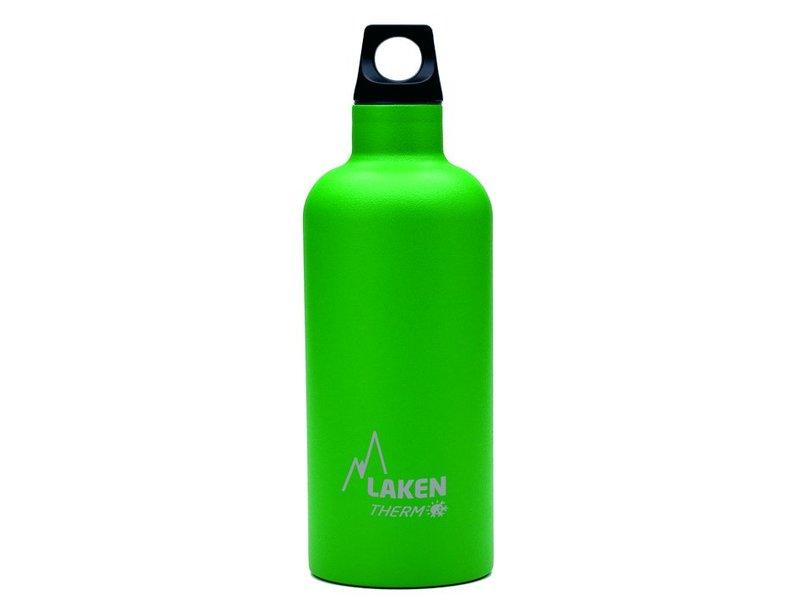 Water Fles ( dubbelwandig ) 0.50 ltr. TE5V kleur: GROEN - RVS - Futura - Merk: LAKEN Since 1912