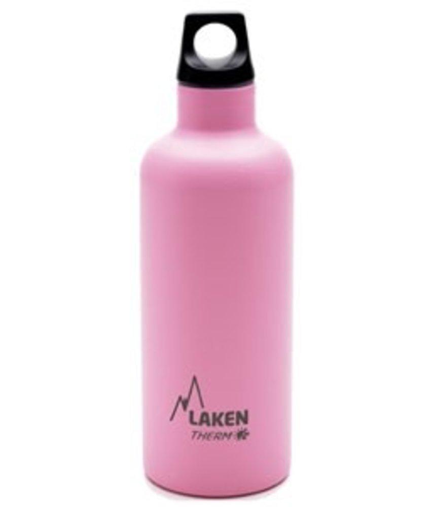 Water Fles ( dubbelwandig ) 0.50 ltr. TE5P kleur: ROZE - RVS - Futura - Merk: LAKEN Since 1912