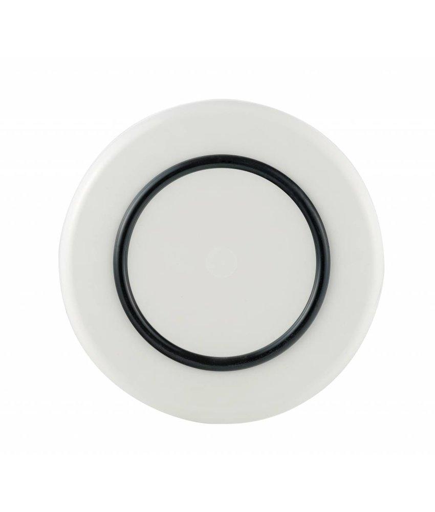 Sorona Palm - Duurzaam Groot Bord ( 25 cm ) Onbreekbaar - Warm Wit met antislip rand in: Zwart
