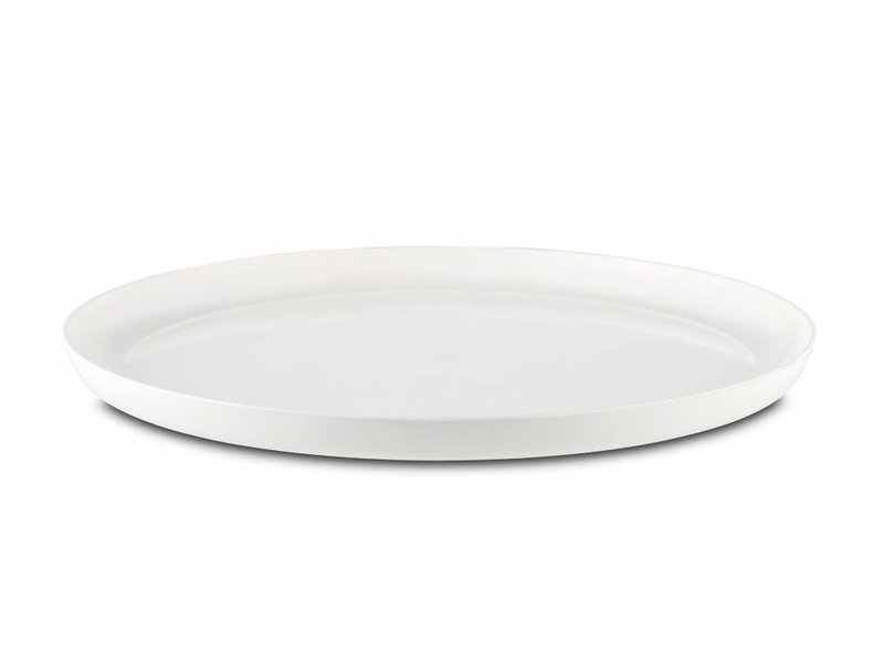 Sorona Palm - Groot Bord ( 25 cm ) Onbreekbaar - Warm Wit met antislip rand in: Zwart