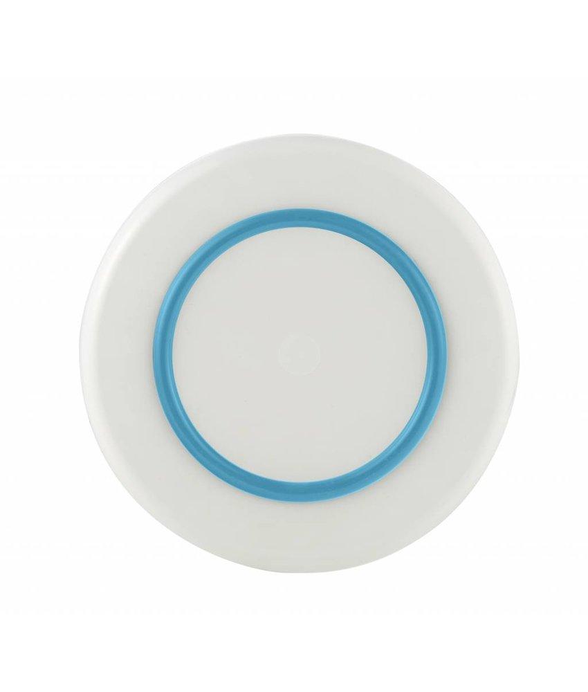 Sorona Palm - Groot Bord ( 25 cm ) Onbreekbaar Warm Wit met antislip rand in: Licht Blauw / Vivid